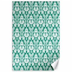 White On Emerald Green Damask Canvas 12  X 18  (unframed) by Zandiepants