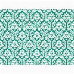 White On Emerald Green Damask Canvas 18  X 24  (unframed) by Zandiepants