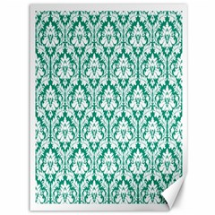 White On Emerald Green Damask Canvas 36  x 48  (Unframed)