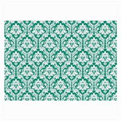 White On Emerald Green Damask Glasses Cloth (large, Two Sided) by Zandiepants