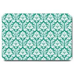 White On Emerald Green Damask Large Door Mat by Zandiepants