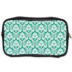 Emerald Green Damask Pattern Toiletries Bag (two Sides) by Zandiepants