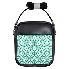 Emerald Green Damask Pattern Girls Sling Bag by Zandiepants