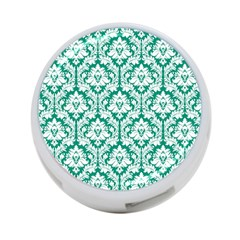 White On Emerald Green Damask 4 Port Usb Hub (one Side) by Zandiepants