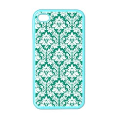 White On Emerald Green Damask Apple Iphone 4 Case (color) by Zandiepants