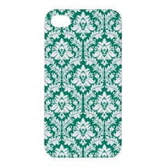 White On Emerald Green Damask Apple Iphone 4/4s Hardshell Case by Zandiepants