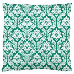 Emerald Green Damask Pattern Large Cushion Case (One Side) by Zandiepants