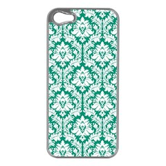 White On Emerald Green Damask Apple Iphone 5 Case (silver) by Zandiepants