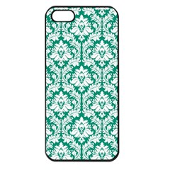 White On Emerald Green Damask Apple Iphone 5 Seamless Case (black) by Zandiepants
