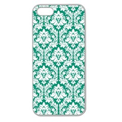 White On Emerald Green Damask Apple Seamless Iphone 5 Case (clear) by Zandiepants