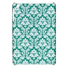 White On Emerald Green Damask Apple Ipad Mini Hardshell Case by Zandiepants