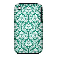 White On Emerald Green Damask Apple Iphone 3g/3gs Hardshell Case (pc+silicone) by Zandiepants