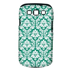 White On Emerald Green Damask Samsung Galaxy S Iii Classic Hardshell Case (pc+silicone) by Zandiepants