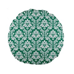 Emerald Green Damask Pattern Standard 15  Premium Round Cushion  by Zandiepants