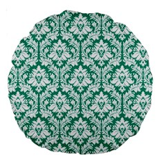 Emerald Green Damask Pattern Large 18  Premium Round Cushion  by Zandiepants