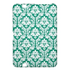 White On Emerald Green Damask Kindle Fire Hd 8 9  Hardshell Case by Zandiepants