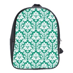 Emerald Green Damask Pattern School Bag (xl) by Zandiepants