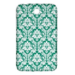 White On Emerald Green Damask Samsung Galaxy Tab 3 (7 ) P3200 Hardshell Case  by Zandiepants