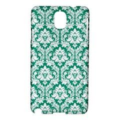 White On Emerald Green Damask Samsung Galaxy Note 3 N9005 Hardshell Case by Zandiepants