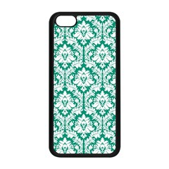 White On Emerald Green Damask Apple Iphone 5c Seamless Case (black) by Zandiepants