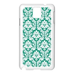White On Emerald Green Damask Samsung Galaxy Note 3 N9005 Case (white) by Zandiepants