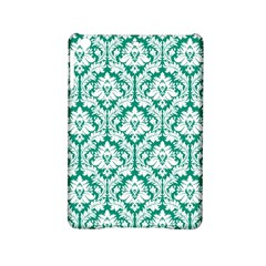 White On Emerald Green Damask Apple iPad Mini 2 Hardshell Case by Zandiepants