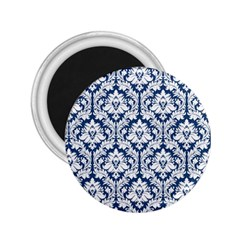 White On Blue Damask 2 25  Button Magnet by Zandiepants