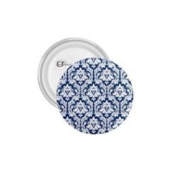 White On Blue Damask 1.75  Button by Zandiepants