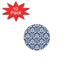 White On Blue Damask 1  Mini Button (10 Pack) by Zandiepants