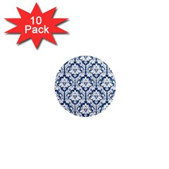 White On Blue Damask 1  Mini Button Magnet (10 pack) by Zandiepants