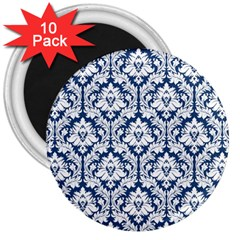 White On Blue Damask 3  Button Magnet (10 Pack) by Zandiepants
