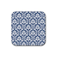 White On Blue Damask Drink Coaster (square) by Zandiepants