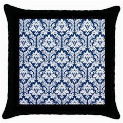 White On Blue Damask Black Throw Pillow Case by Zandiepants