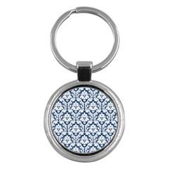 White On Blue Damask Key Chain (round) by Zandiepants