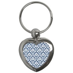 White On Blue Damask Key Chain (heart) by Zandiepants