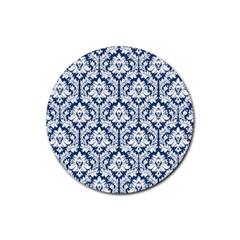 White On Blue Damask Drink Coasters 4 Pack (Round) by Zandiepants