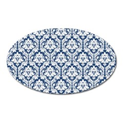 White On Blue Damask Magnet (oval) by Zandiepants