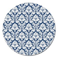 White On Blue Damask Magnet 5  (round) by Zandiepants