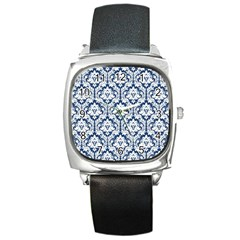 White On Blue Damask Square Leather Watch by Zandiepants