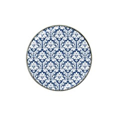 White On Blue Damask Golf Ball Marker (for Hat Clip) by Zandiepants
