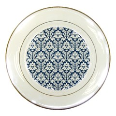 White On Blue Damask Porcelain Display Plate by Zandiepants