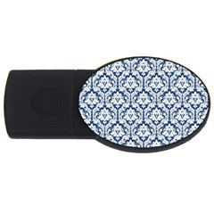 White On Blue Damask 4gb Usb Flash Drive (oval) by Zandiepants