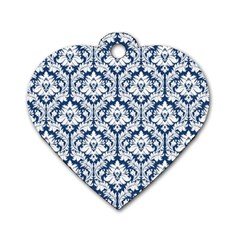 White On Blue Damask Dog Tag Heart (two Sided) by Zandiepants