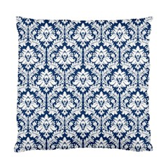 Navy Blue Damask Pattern Standard Cushion Case (two Sides) by Zandiepants