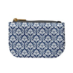 Navy Blue Damask Pattern Mini Coin Purse by Zandiepants