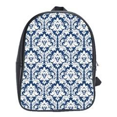 White On Blue Damask School Bag (Large) by Zandiepants