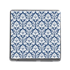 White On Blue Damask Memory Card Reader With Storage (square) by Zandiepants
