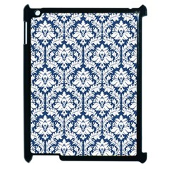 White On Blue Damask Apple Ipad 2 Case (black) by Zandiepants