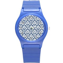 White On Blue Damask Plastic Sport Watch (small) by Zandiepants