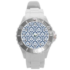 White On Blue Damask Plastic Sport Watch (large) by Zandiepants